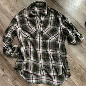 Express Green Maroon Plaid Long Sleeve Button up